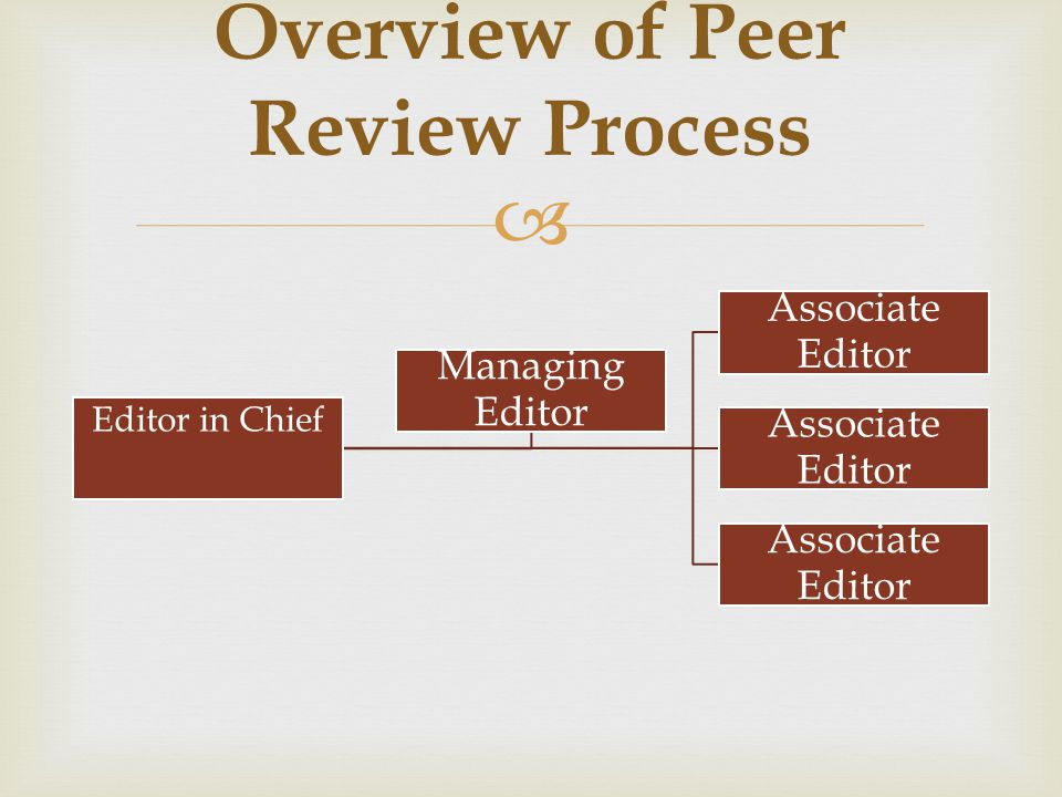  Overview of Peer Review Process Editor in Chief Associate Editor Managing Editor
