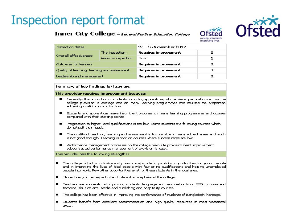 Inspection report format