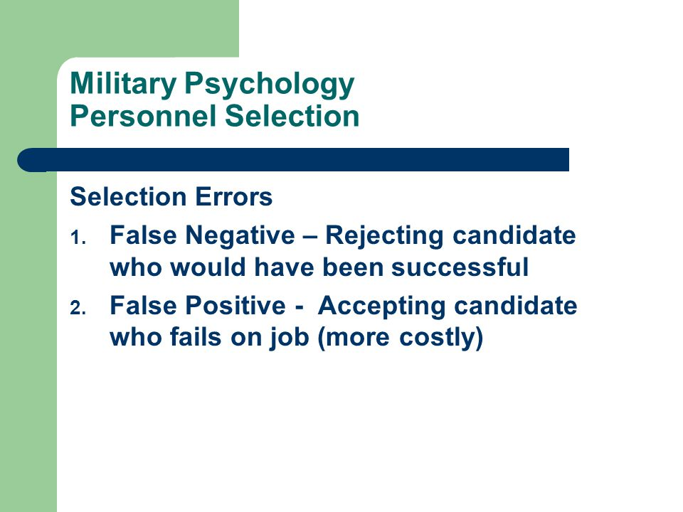 Military Psychology Personnel Selection Classification