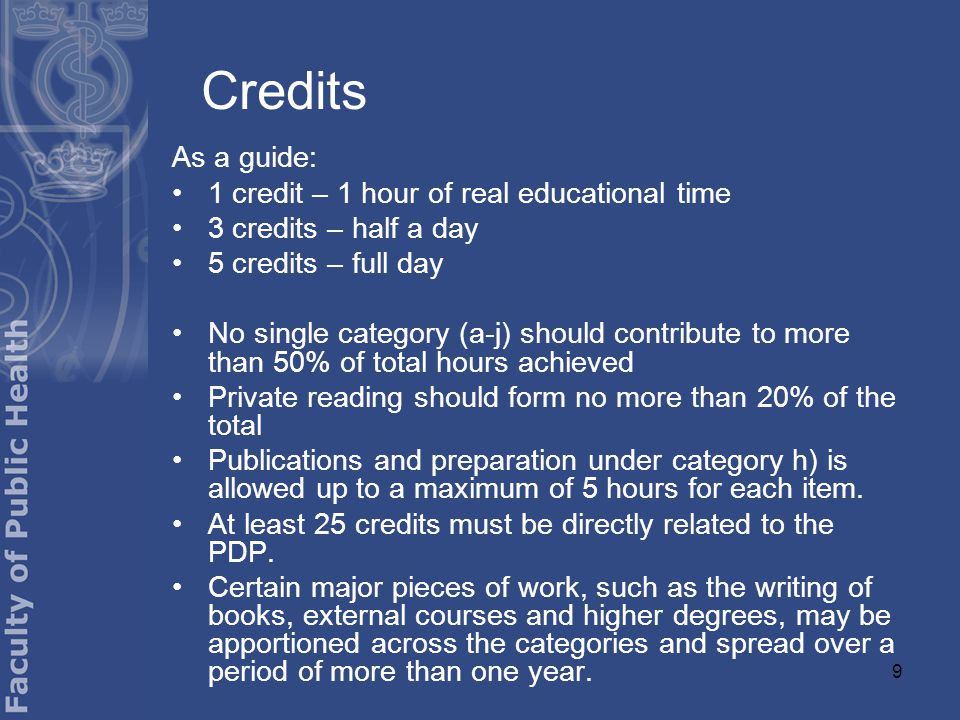 9 Credits As a guide: 1 credit – 1 hour of real educational time 3 credits – half a day 5 credits – full day No single category (a-j) should contribute to more than 50% of total hours achieved Private reading should form no more than 20% of the total Publications and preparation under category h) is allowed up to a maximum of 5 hours for each item.
