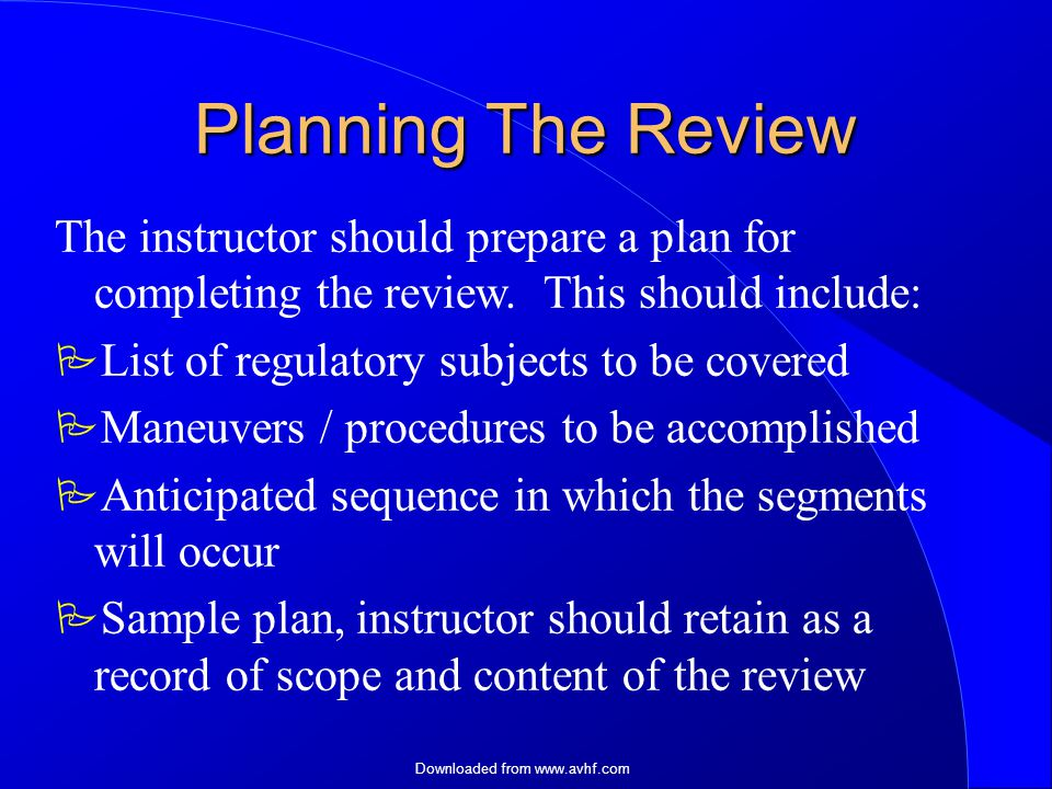 Downloaded from   Planning The Review The instructor should prepare a plan for completing the review.