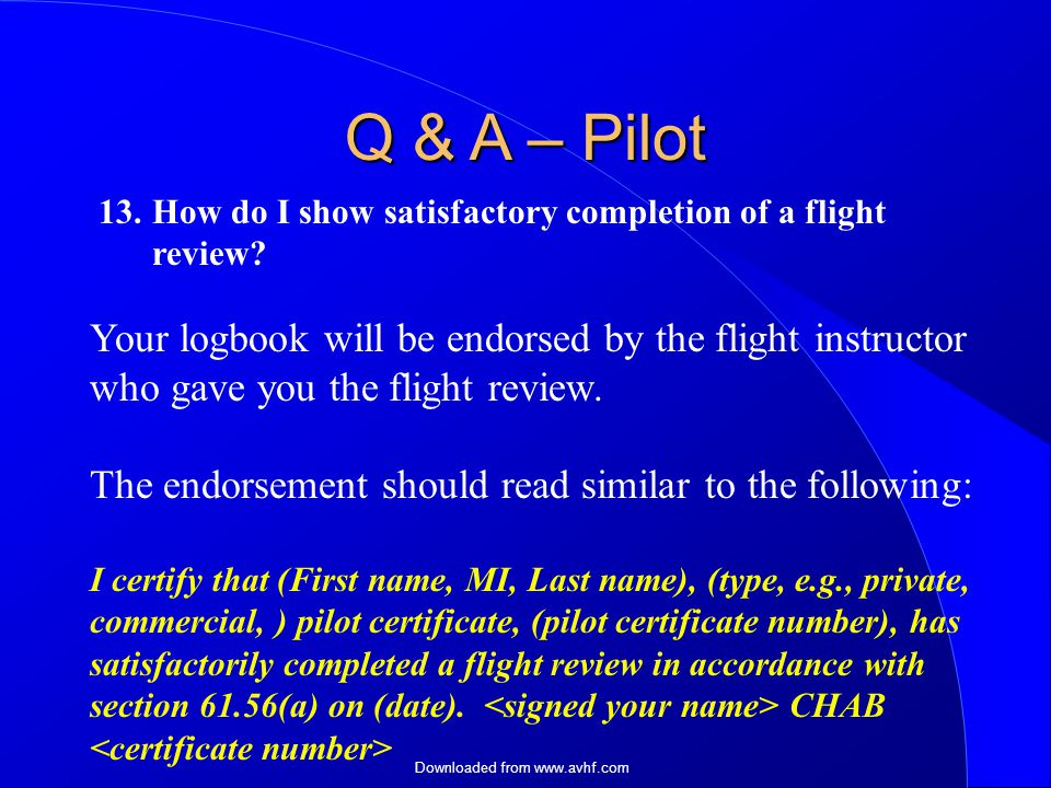 Downloaded from How do I show satisfactory completion of a flight review.