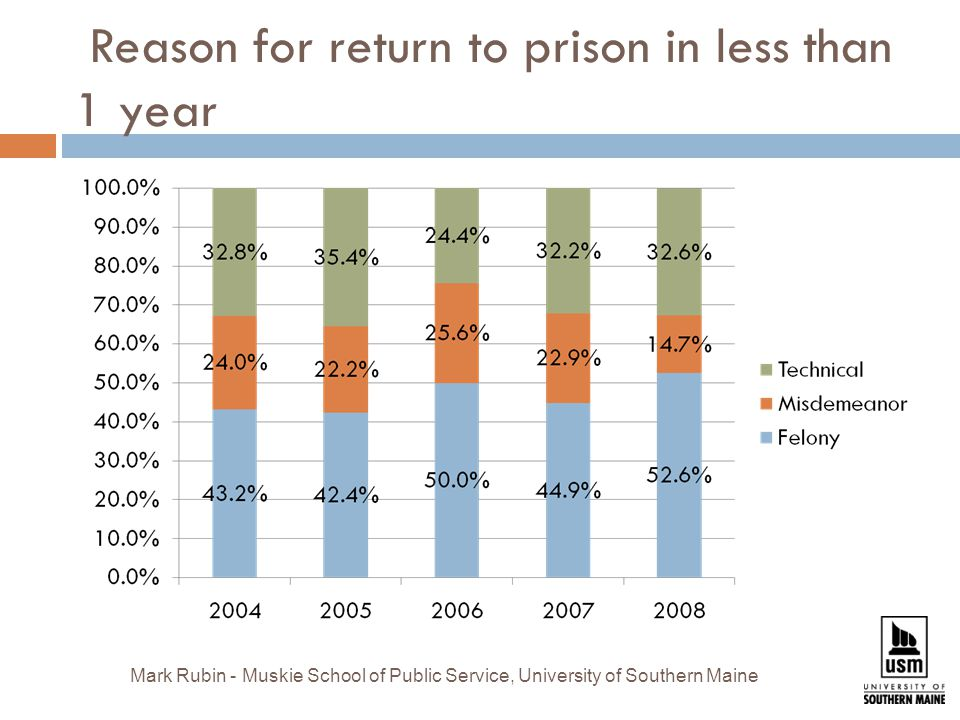 Reason for return to prison in less than 1 year Mark Rubin - Muskie School of Public Service, University of Southern Maine