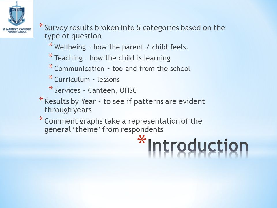 Review date - tba  * Introduction * Summary of Respondents