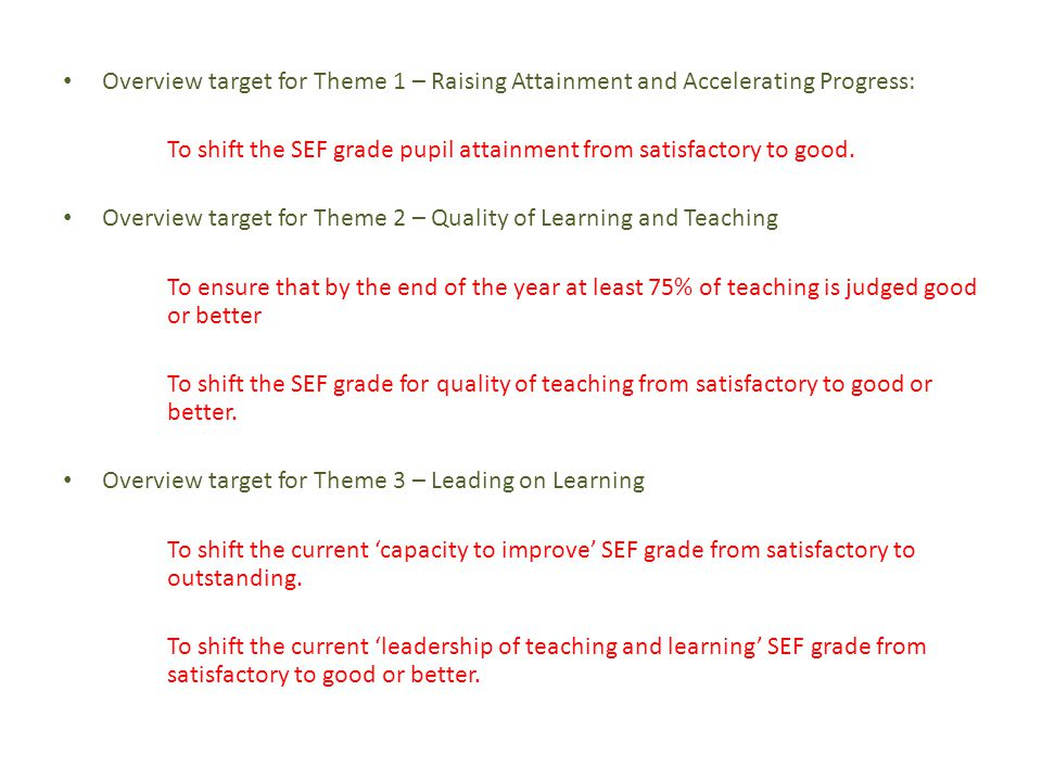 Overview target for Theme 1 – Raising Attainment and Accelerating Progress: To shift the SEF grade pupil attainment from satisfactory to good.