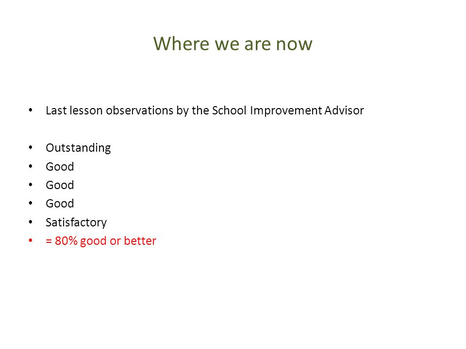 Where we are now Last lesson observations by the School Improvement Advisor Outstanding Good Satisfactory = 80% good or better