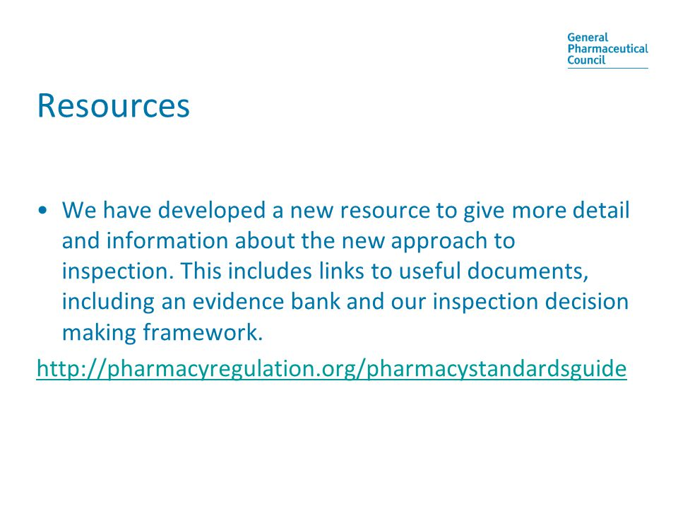 Resources We have developed a new resource to give more detail and information about the new approach to inspection.