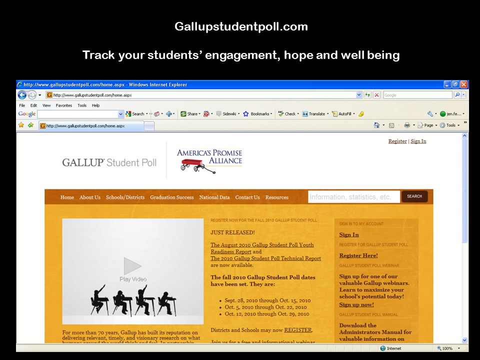 Gallupstudentpoll.com Track your students' engagement, hope and well being