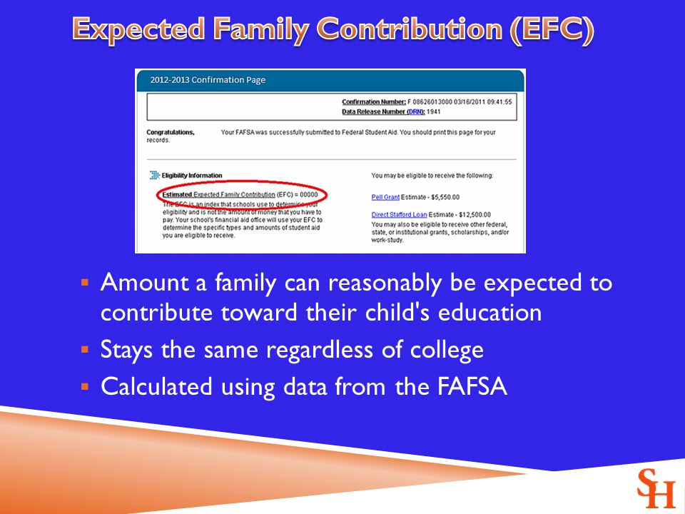  Amount a family can reasonably be expected to contribute toward their child s education  Stays the same regardless of college  Calculated using data from the FAFSA