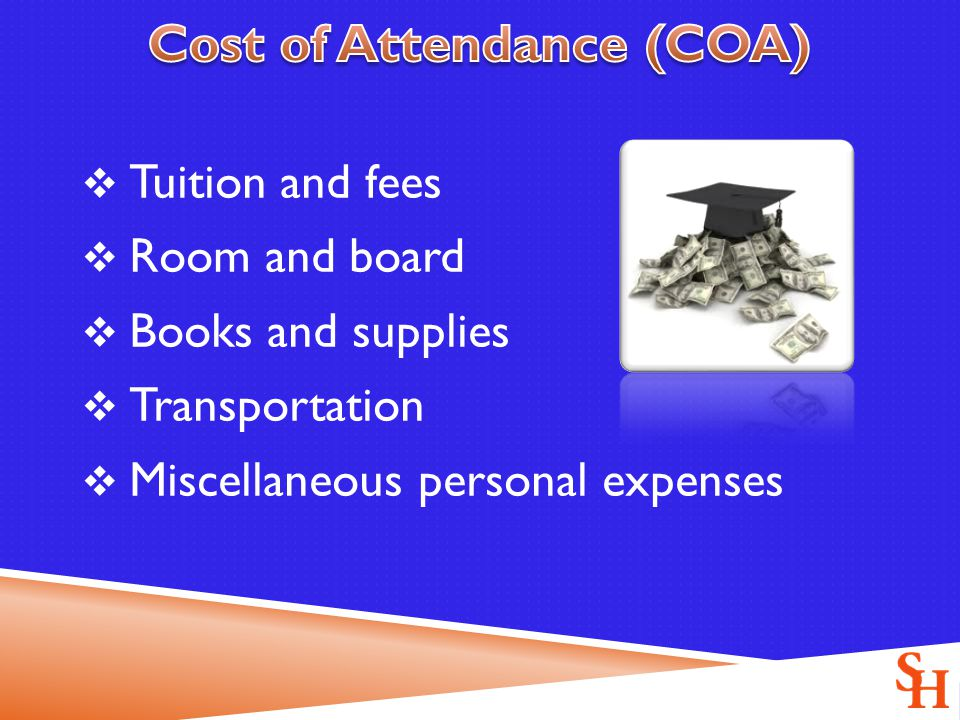  Tuition and fees  Room and board  Books and supplies  Transportation  Miscellaneous personal expenses