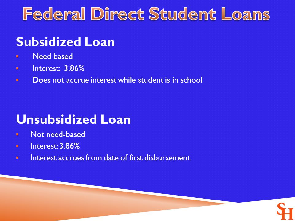 Subsidized Loan  Need based  Interest: 3.86%  Does not accrue interest while student is in school Unsubsidized Loan  Not need-based  Interest: 3.86%  Interest accrues from date of first disbursement