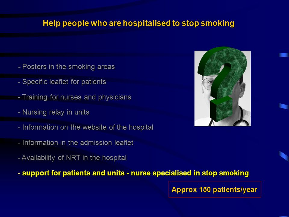 Help people who are hospitalised to stop smoking - Posters in the smoking areas - Specific leaflet for patients - Training for nurses and physicians - Nursing relay in units - Information on the website of the hospital - Information in the admission leaflet - Availability of NRT in the hospital - support for patients and units - nurse specialised in stop smoking Approx 150 patients/year