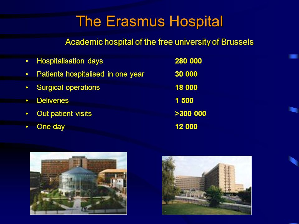The Erasmus Hospital Hospitalisation days280 000 Patients hospitalised in one year30 000 Surgical operations 18 000 Deliveries 1 500 Out patient visits >300 000 One day 12 000 Academic hospital of the free university of Brussels