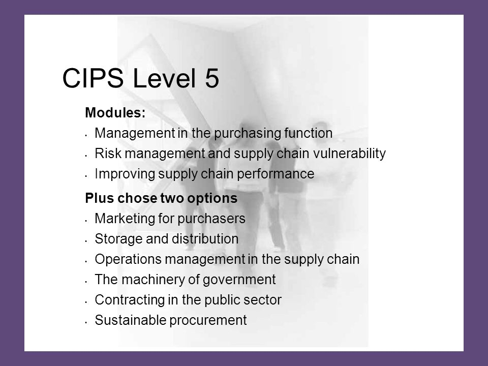 CIPS Level 5 Modules: Management in the purchasing function Risk management and supply chain vulnerability Improving supply chain performance Plus chose two options Marketing for purchasers Storage and distribution Operations management in the supply chain The machinery of government Contracting in the public sector Sustainable procurement