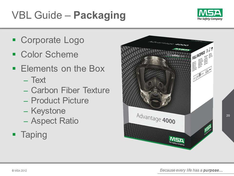 Because every life has a purpose… © MSA VBL Guide – Packaging  Corporate Logo  Color Scheme  Elements on the Box – Text – Carbon Fiber Texture – Product Picture – Keystone – Aspect Ratio  Taping