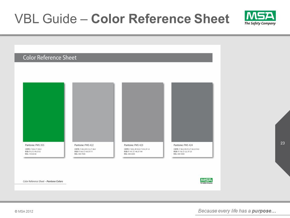Because every life has a purpose… © MSA VBL Guide – Color Reference Sheet