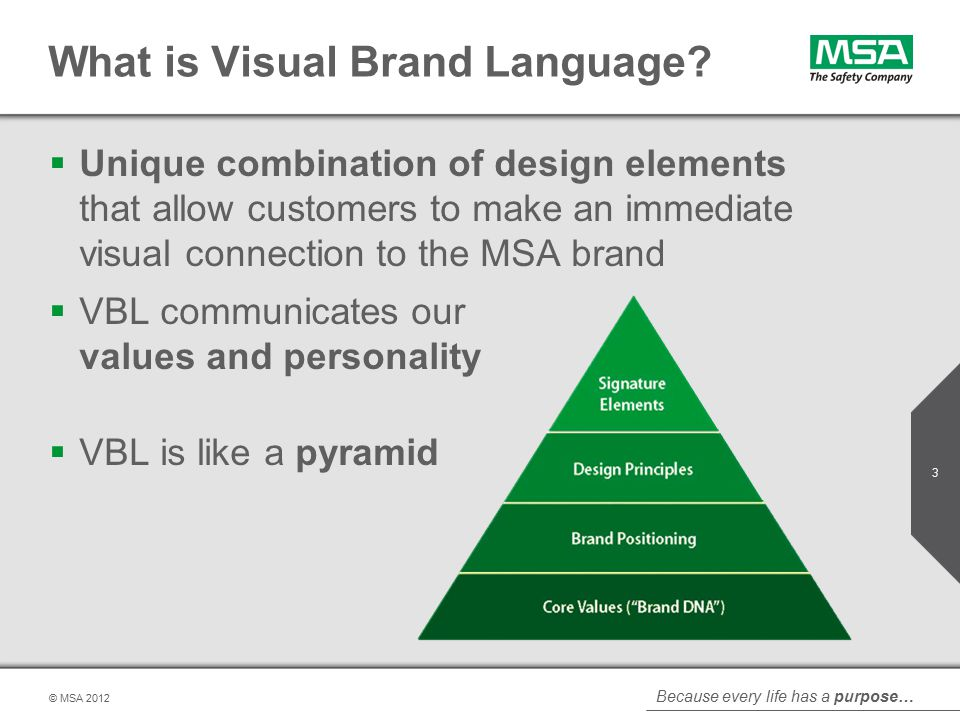 Because every life has a purpose… © MSA  Unique combination of design elements that allow customers to make an immediate visual connection to the MSA brand  VBL communicates our values and personality  VBL is like a pyramid What is Visual Brand Language