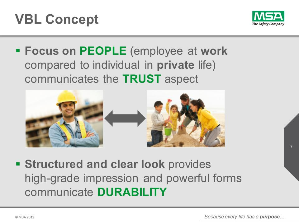 Because every life has a purpose… © MSA VBL Concept  Focus on PEOPLE (employee at work compared to individual in private life) communicates the TRUST aspect  Structured and clear look provides high-grade impression and powerful forms communicate DURABILITY