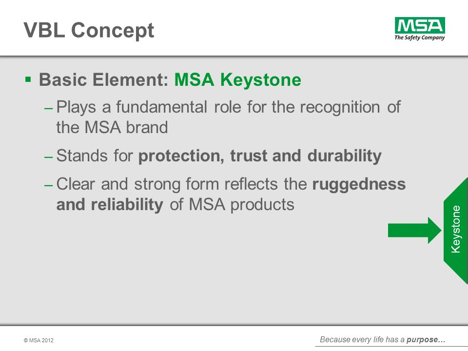 Because every life has a purpose… © MSA VBL Concept  Basic Element: MSA Keystone – Plays a fundamental role for the recognition of the MSA brand – Stands for protection, trust and durability – Clear and strong form reflects the ruggedness and reliability of MSA products Keystone