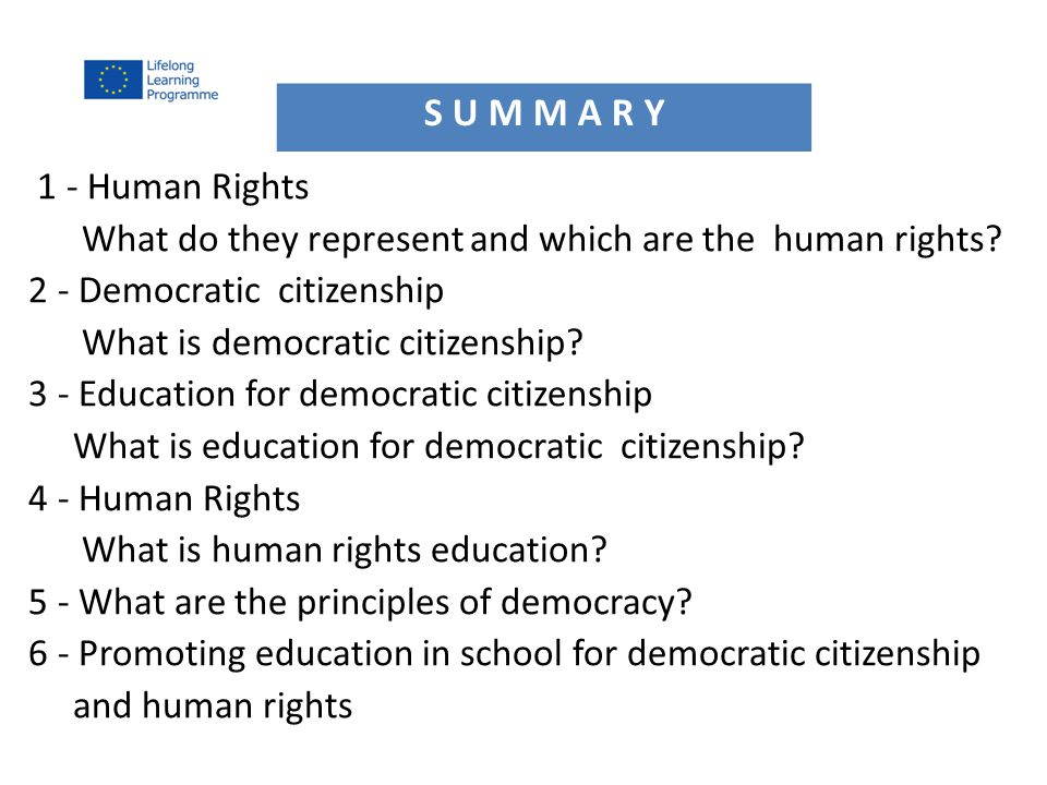 1 - Human Rights What do they represent and which are the human rights.