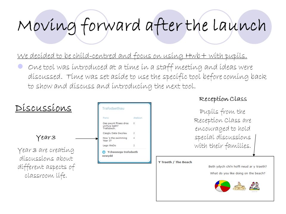 Moving forward after the launch We decided to be child-centred and focus on using Hwb+ with pupils.