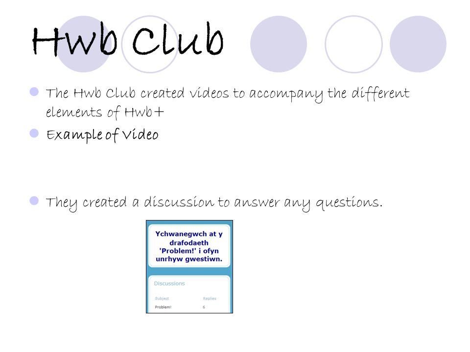 Hwb Club The Hwb Club created videos to accompany the different elements of Hwb+ Example of Video They created a discussion to answer any questions.