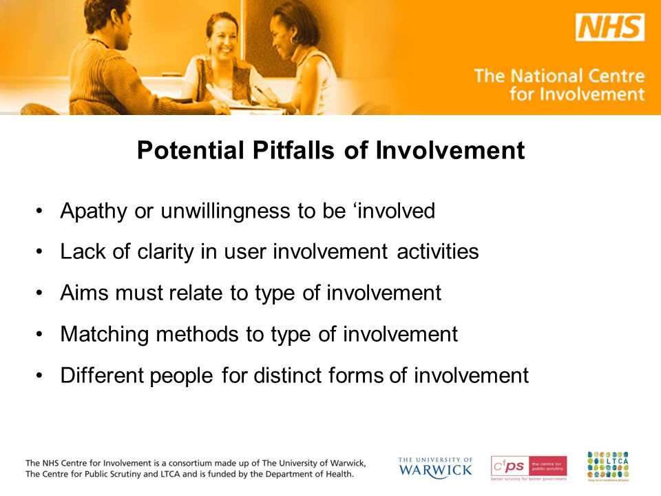 Potential Pitfalls of Involvement Apathy or unwillingness to be 'involved Lack of clarity in user involvement activities Aims must relate to type of involvement Matching methods to type of involvement Different people for distinct forms of involvement