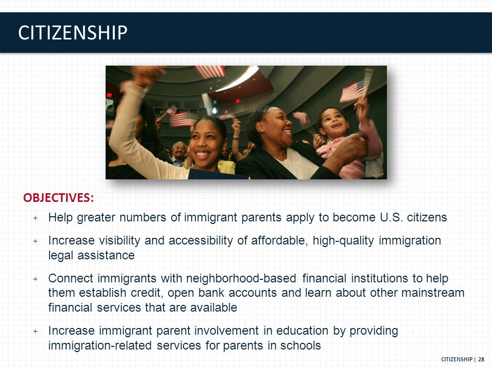 CITIZENSHIP CITIZENSHIP | 28 OBJECTIVES: + Help greater numbers of immigrant parents apply to become U.S.