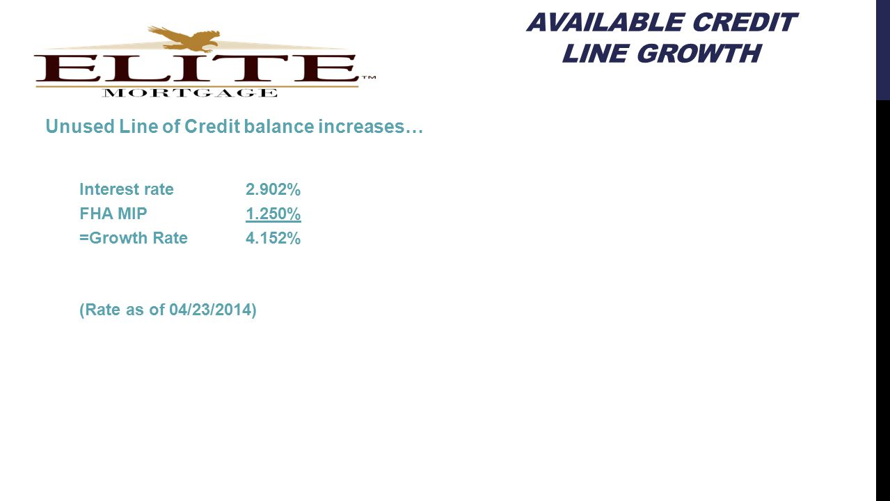 AVAILABLE CREDIT LINE GROWTH Unused Line of Credit balance increases… Interest rate2.902% FHA MIP1.250% =Growth Rate4.152% (Rate as of 04/23/2014)