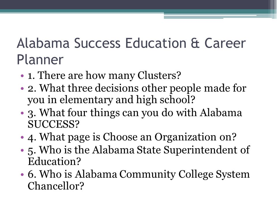 Alabama Success Education & Career Planner 1. There are how many Clusters.