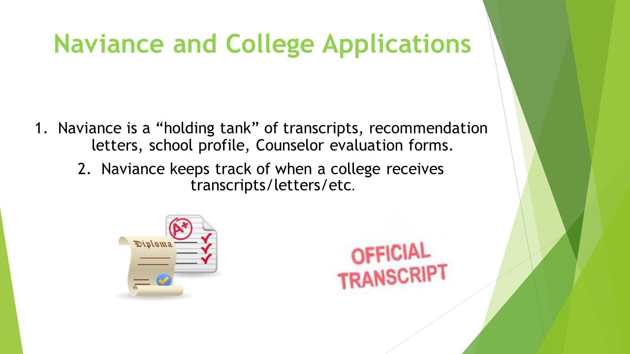 Naviance and College Applications 1.Naviance is a holding tank of transcripts, recommendation letters, school profile, Counselor evaluation forms.