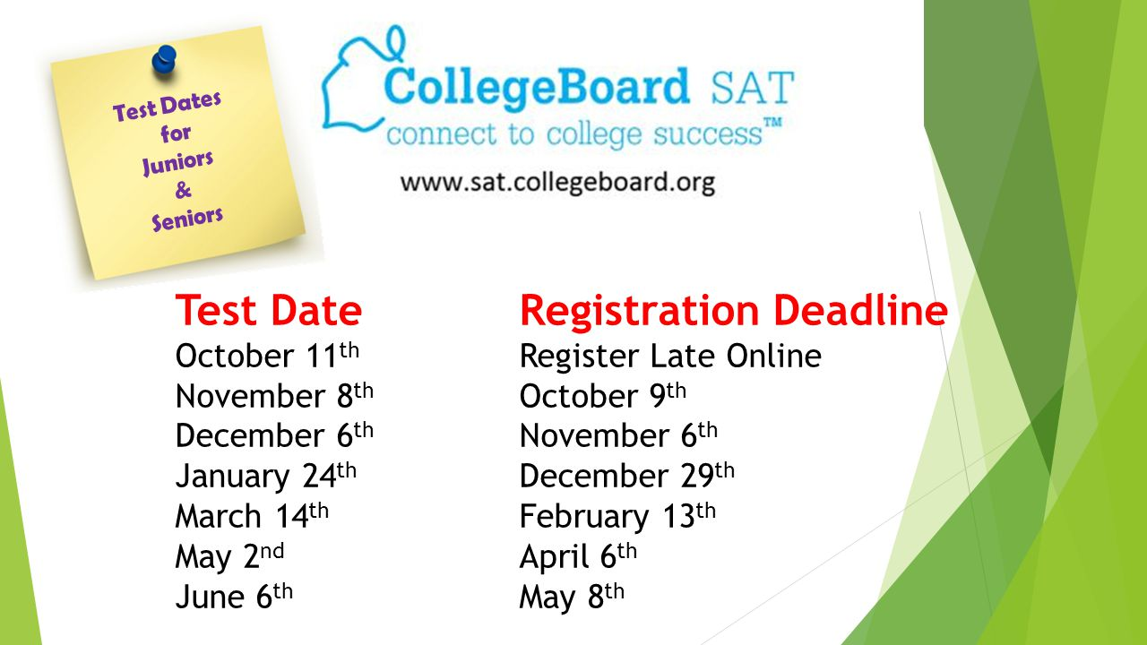 Test DateRegistration Deadline October 11 th Register Late Online November 8 th October 9 th December 6 th November 6 th January 24 th December 29 th March 14 th February 13 th May 2 nd April 6 th June 6 th May 8 th Test Dates for Juniors & Seniors