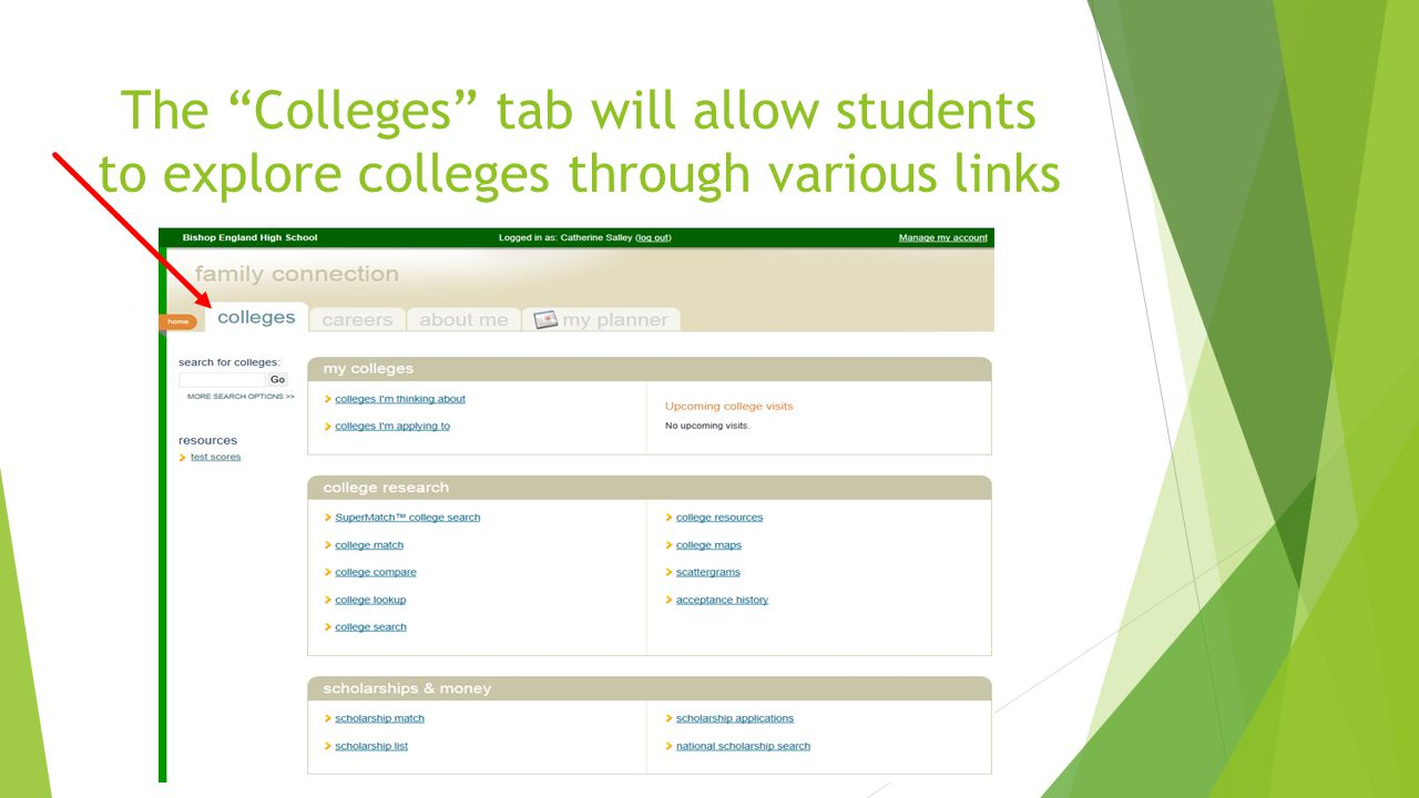 The Colleges tab will allow students to explore colleges through various links