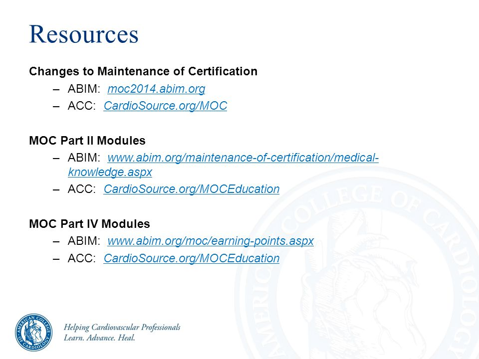 ABIM's MOC Changes How to Deliver the Message to ACC's