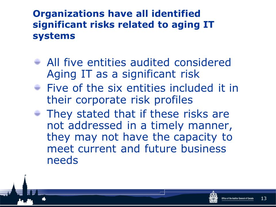 Organizations have all identified significant risks related to aging IT systems All five entities audited considered Aging IT as a significant risk Five of the six entities included it in their corporate risk profiles They stated that if these risks are not addressed in a timely manner, they may not have the capacity to meet current and future business needs 13