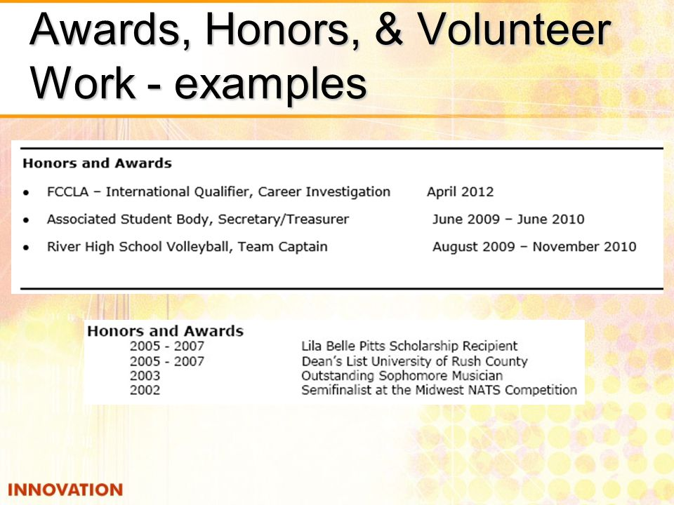 Awards, Honors, & Volunteer Work - examples
