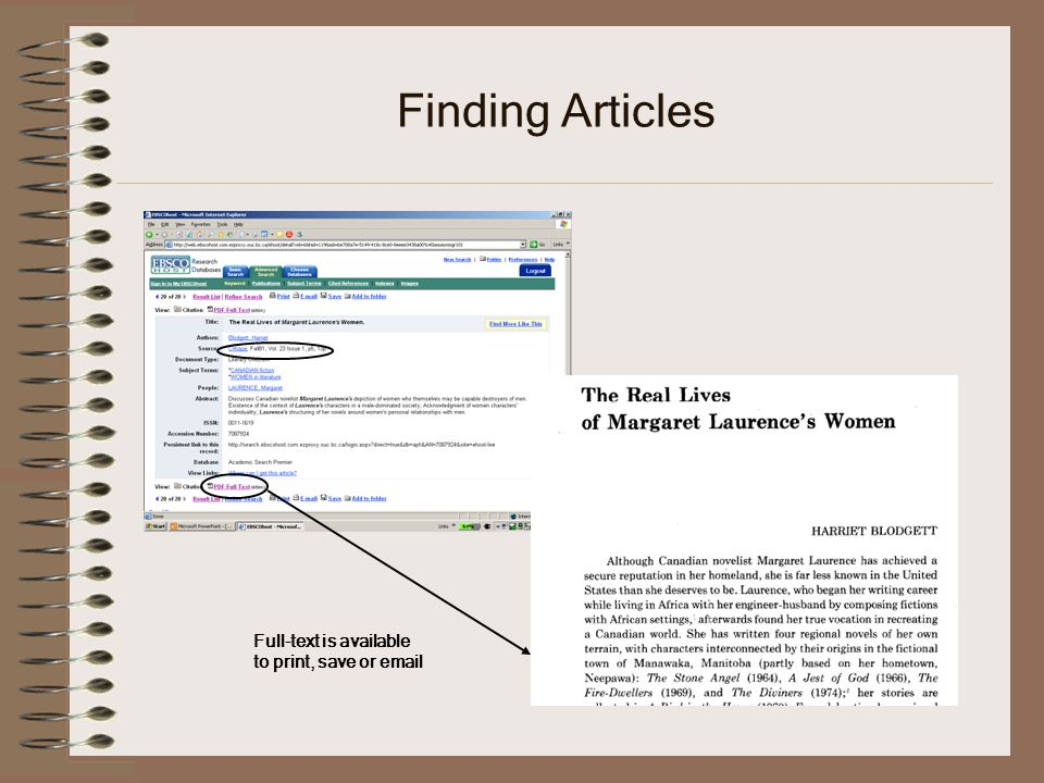 Finding Articles Full-text is available to print, save or