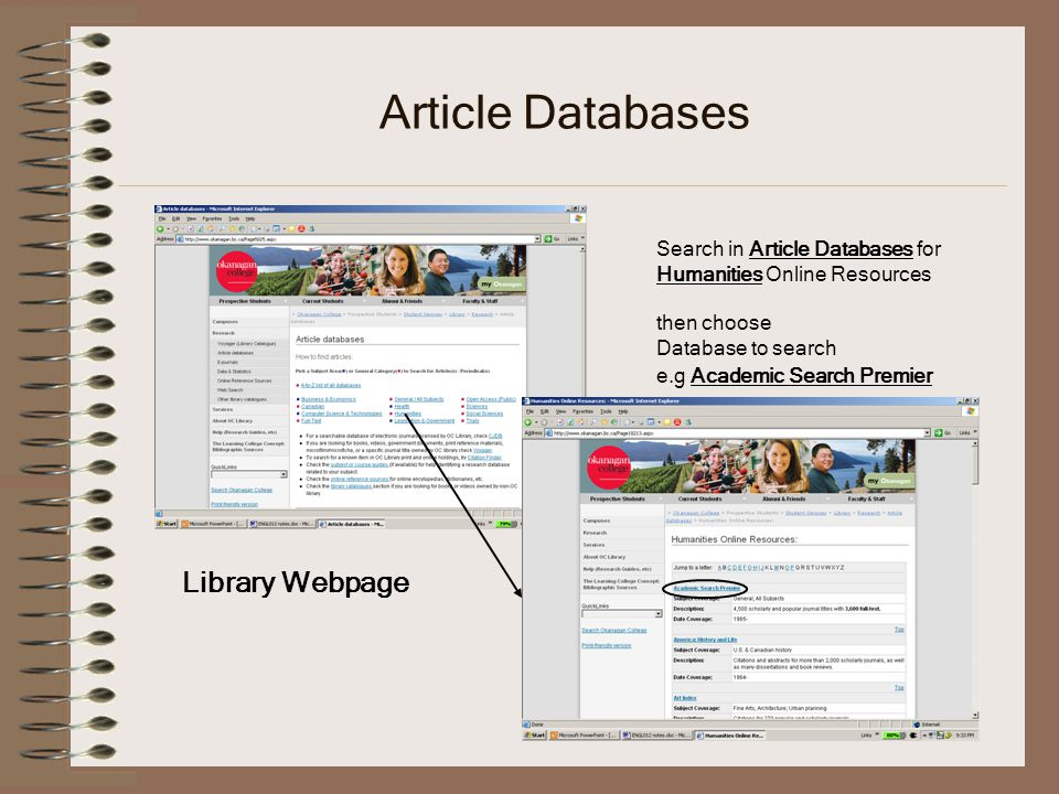 Article Databases Search in Article Databases for Humanities Online Resources then choose Database to search e.g Academic Search Premier Library Webpage