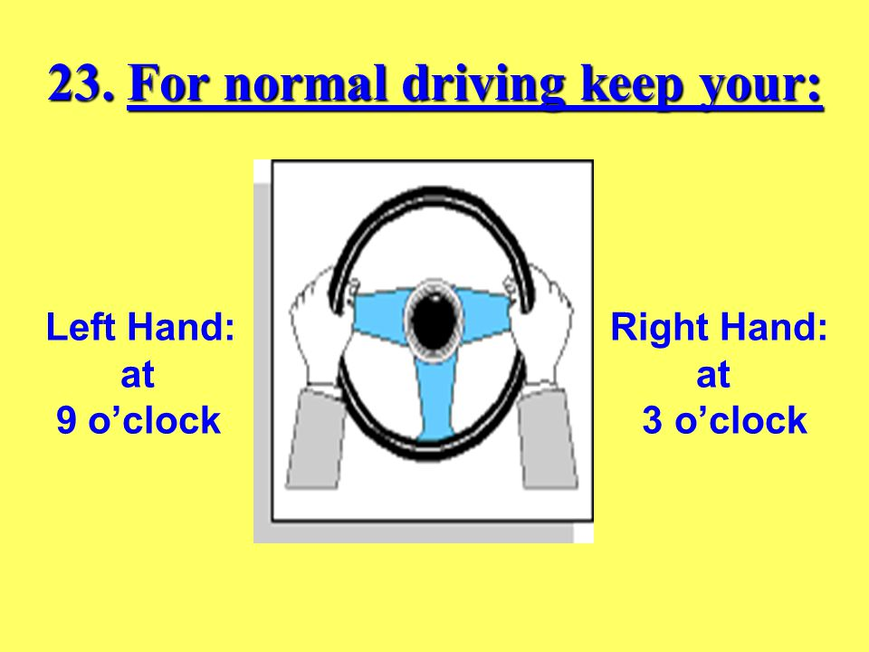 22. Blind spots are areas….. Hidden from a driver's view. Hidden from a driver's view.