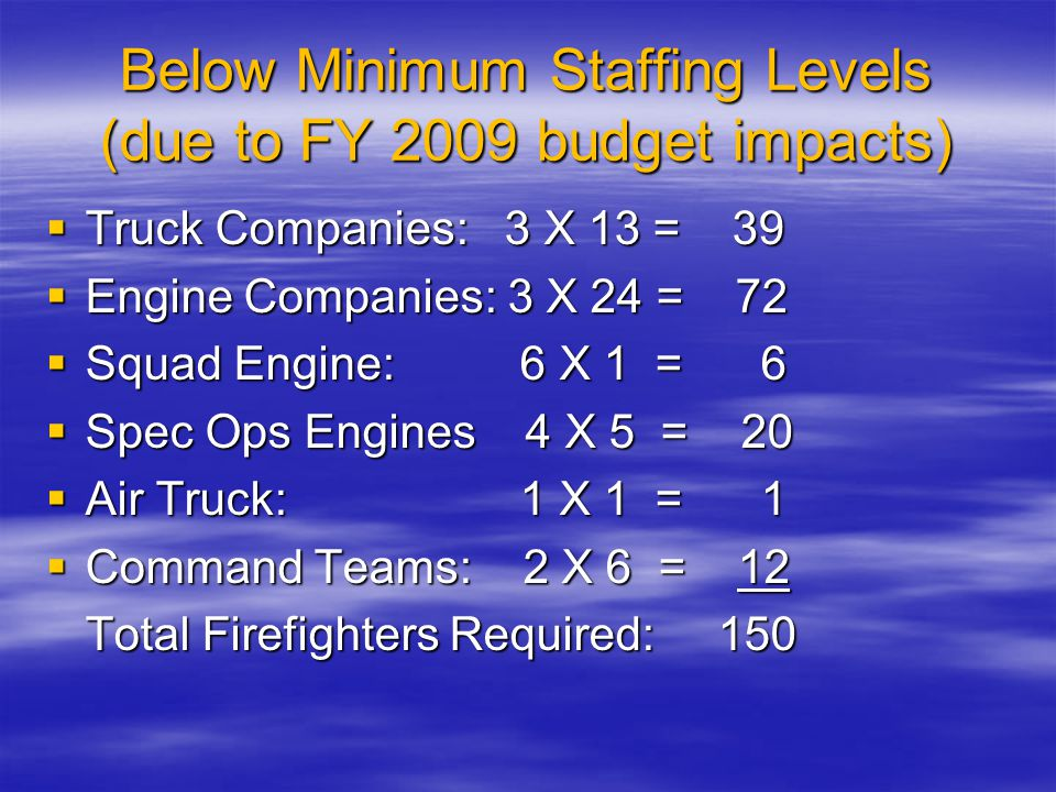 Below Minimum Staffing Levels (due to FY 2009 budget impacts)  Truck Companies: 3 X 13 = 39  Engine Companies: 3 X 24 = 72  Squad Engine: 6 X 1 = 6  Spec Ops Engines 4 X 5 = 20  Air Truck: 1 X 1 = 1  Command Teams: 2 X 6 = 12 Total Firefighters Required: 150