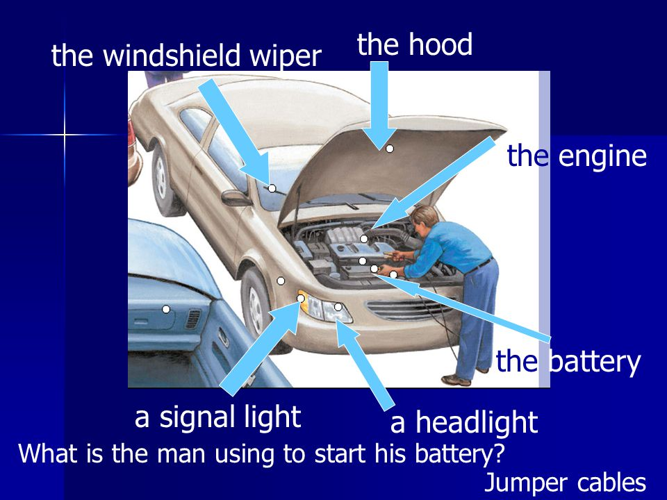 the hood the windshield wiper a signal light a headlight the engine the battery What is the man using to start his battery.