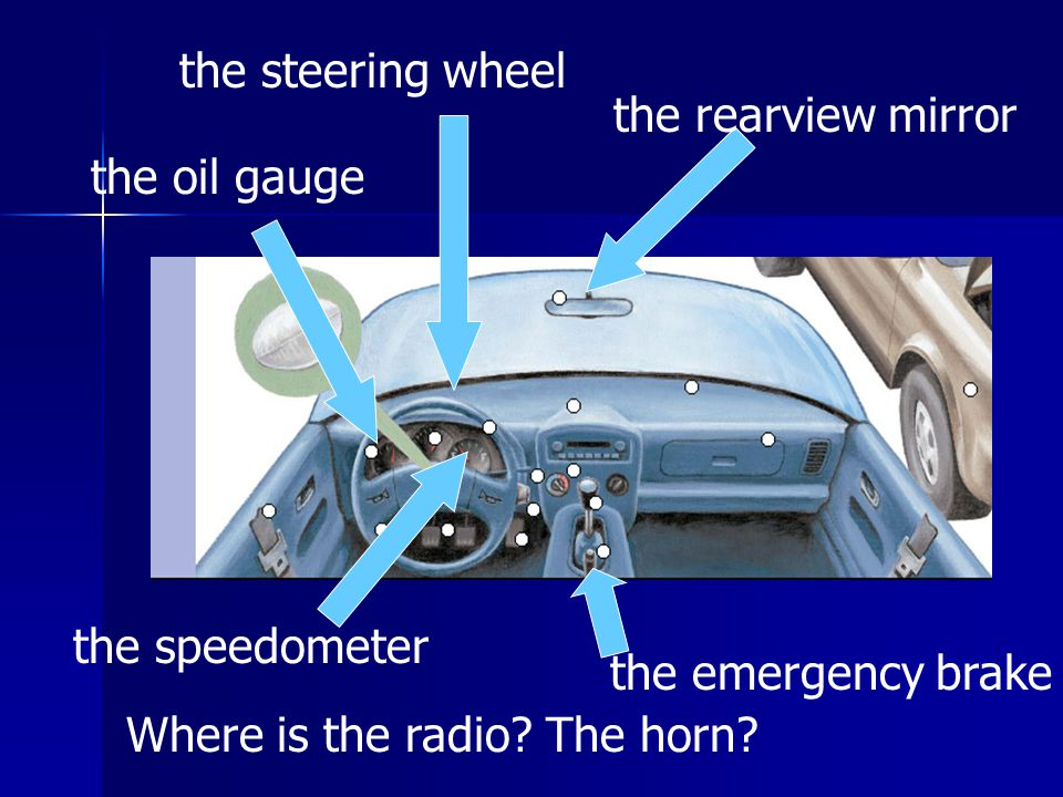 the rearview mirror the speedometer the oil gauge Where is the radio.