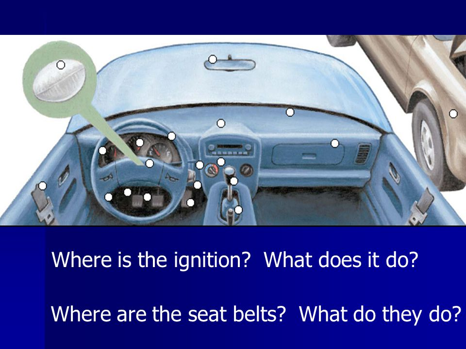 Where is the ignition What does it do Where are the seat belts What do they do
