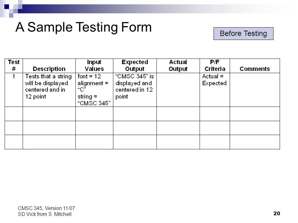 20 CMSC 345, Version 11/07 SD Vick from S. Mitchell A Sample Testing Form Before Testing