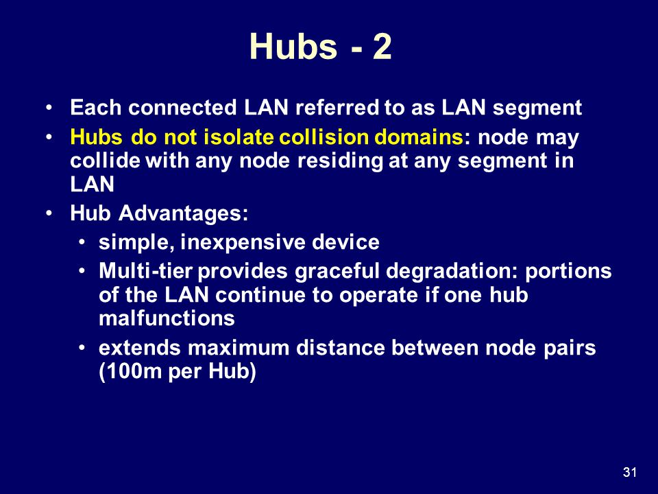 31 Hubs - 2 Each connected LAN referred to as LAN segment Hubs do not isolate collision domains: node may collide with any node residing at any segment in LAN Hub Advantages: simple, inexpensive device Multi-tier provides graceful degradation: portions of the LAN continue to operate if one hub malfunctions extends maximum distance between node pairs (100m per Hub)
