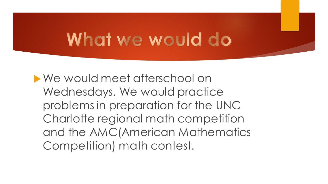 INTEREST MEETING   We would meet afterschool on Wednesdays  We