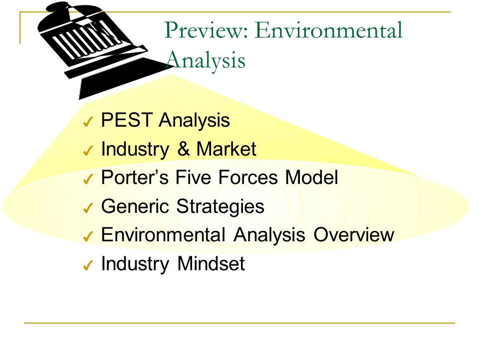 Preview: Environmental Analysis 4 PEST Analysis 4 Industry & Market 4 Porter's Five Forces Model 4 Generic Strategies 4 Environmental Analysis Overview 4 Industry Mindset