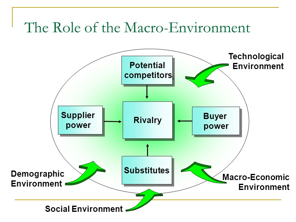 The Role of the Macro-Environment Potential competitors Potential competitors Rivalry Substitutes Substitutes Supplier power Supplier power Technological Environment Demographic Environment Social Environment Buyer power Buyer power Macro-Economic Environment