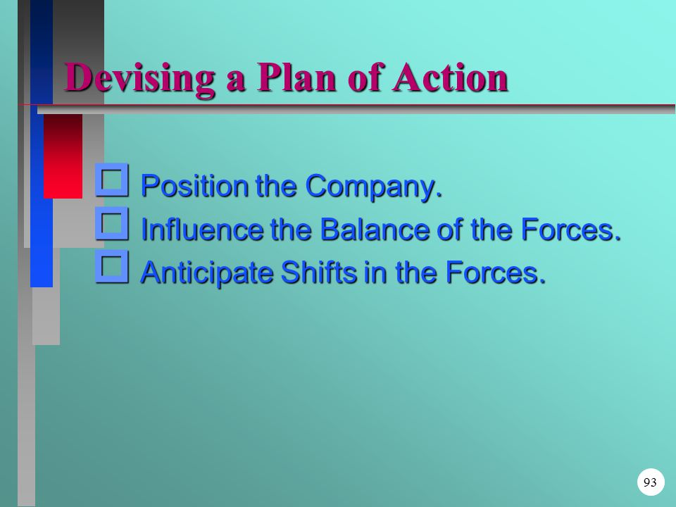 Devising a Plan of Action p Position the Company. p Influence the Balance of the Forces.