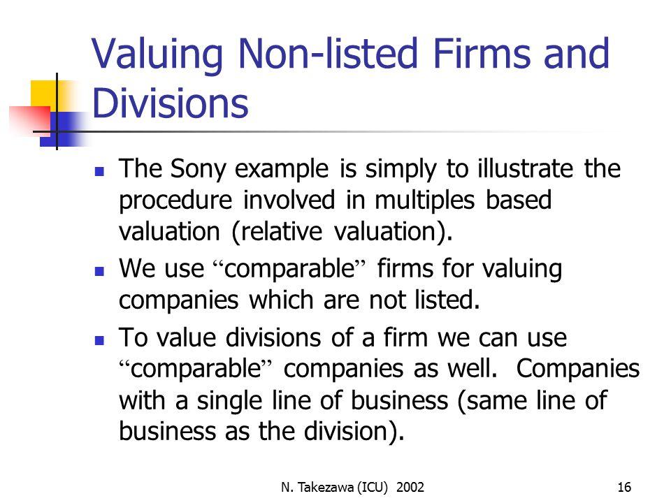 N  Takezawa (ICU) Corporate Finance Valuation Using